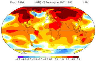 March global temperature anomaly